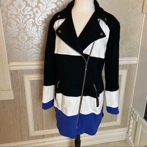 INC Macys long striped Moto Jacket Large great con